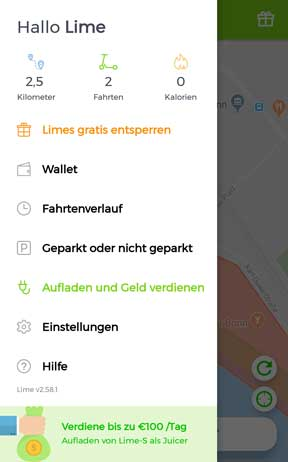 lime E-Scooter App Menü